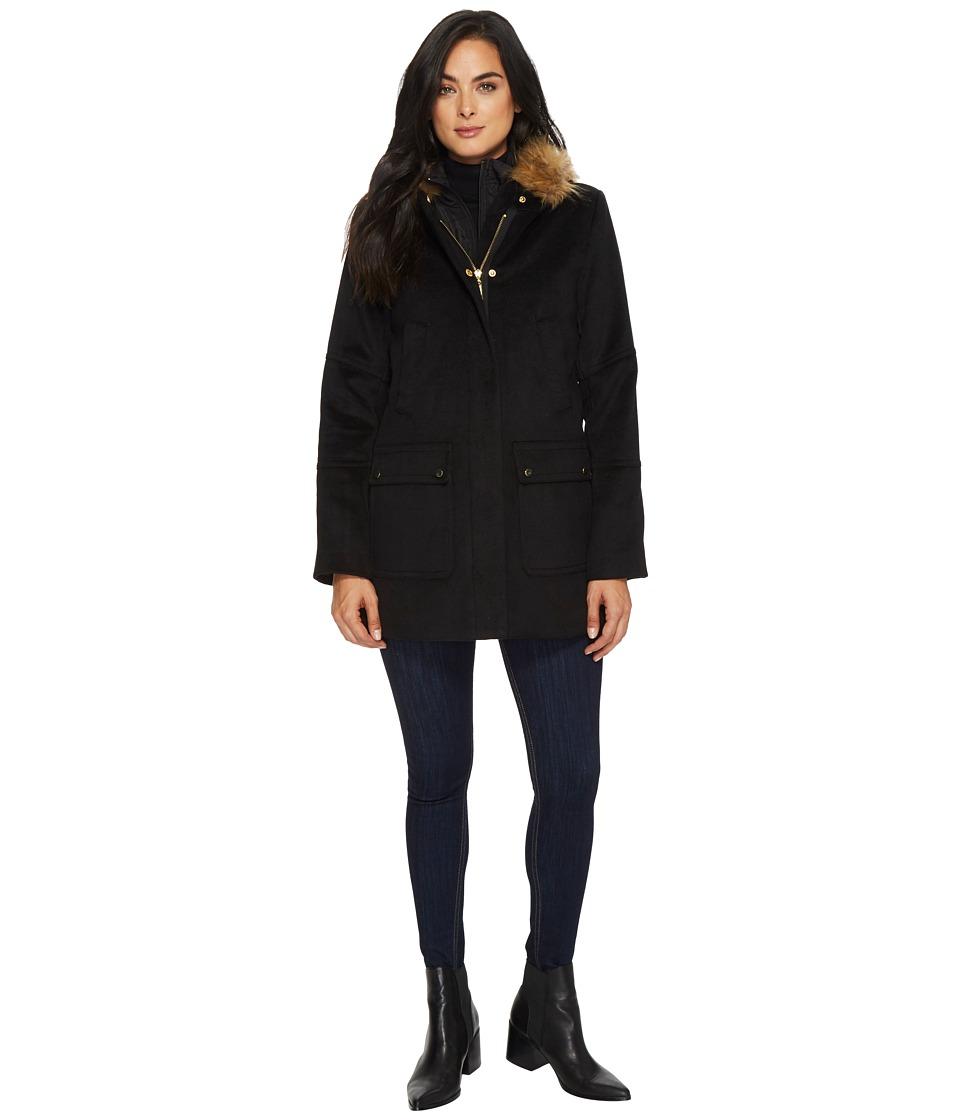 Ellen Tracy - Faux Wool Twill Coat (Black) Women's Coat