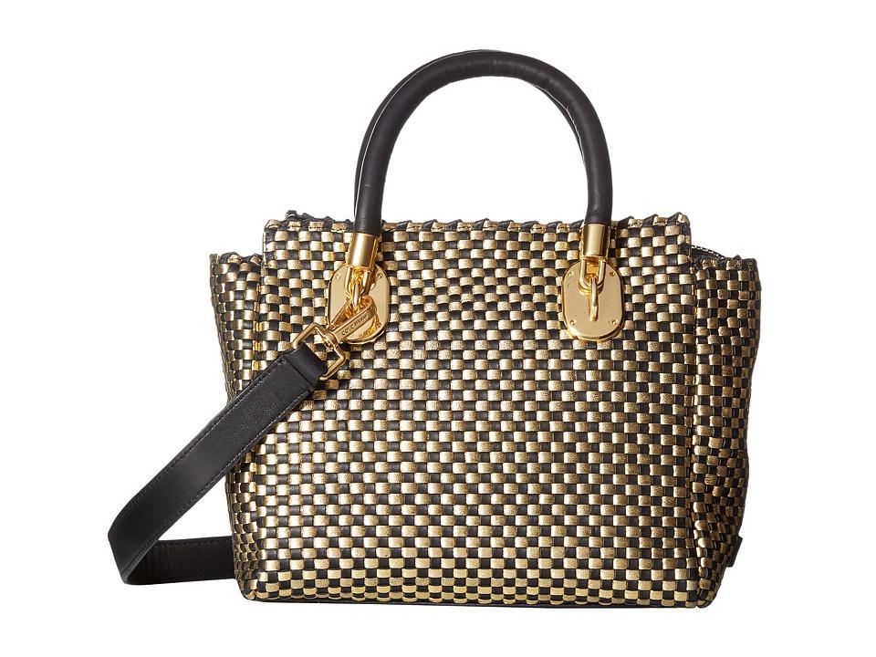 Cole Haan - Benson II Woven Small Square Tote (Black/Gold) Tote Handbags