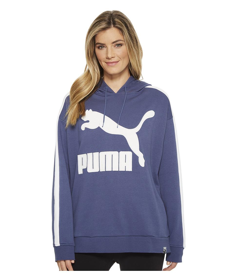 PUMA Classics Logo T7 Hoodie (Blue Indigo) Women
