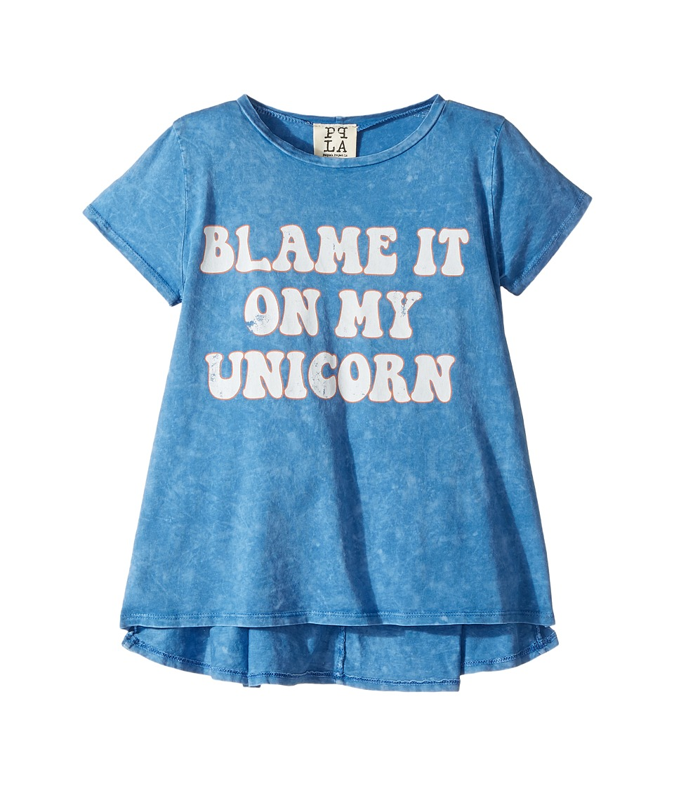 People's Project LA Kids - Blame Unicorn Knit Tee (Big Kids) (Blue Wash) Girl's T Shirt