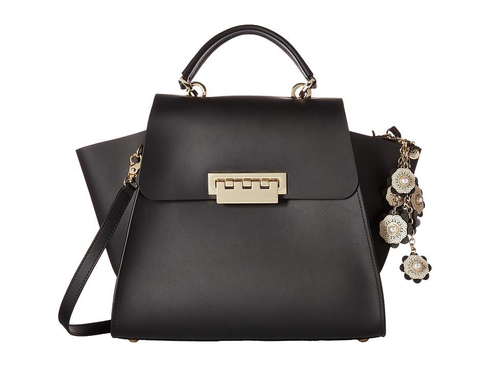 ZAC Zac Posen - Eartha Iconic Floral Top-Handle with Floral Charm (Black) Handbags