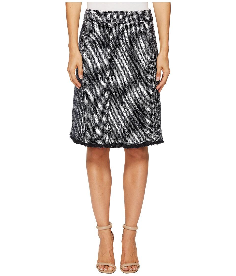 Ellen Tracy Tweed A-Line Skirt with Fringe Trim (Night Sky Multi) Women