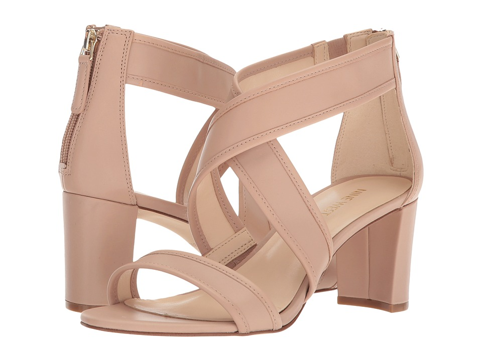 Nine West Pearlita Block Heel Sandal (Barely Nude Dress Calf) High Heels