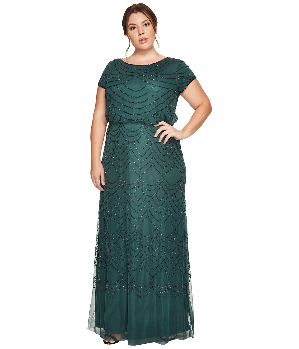 Adrianna Papell Plus Size Short Sleeve Blouson Beaded Gown Dusty Emerald Dress