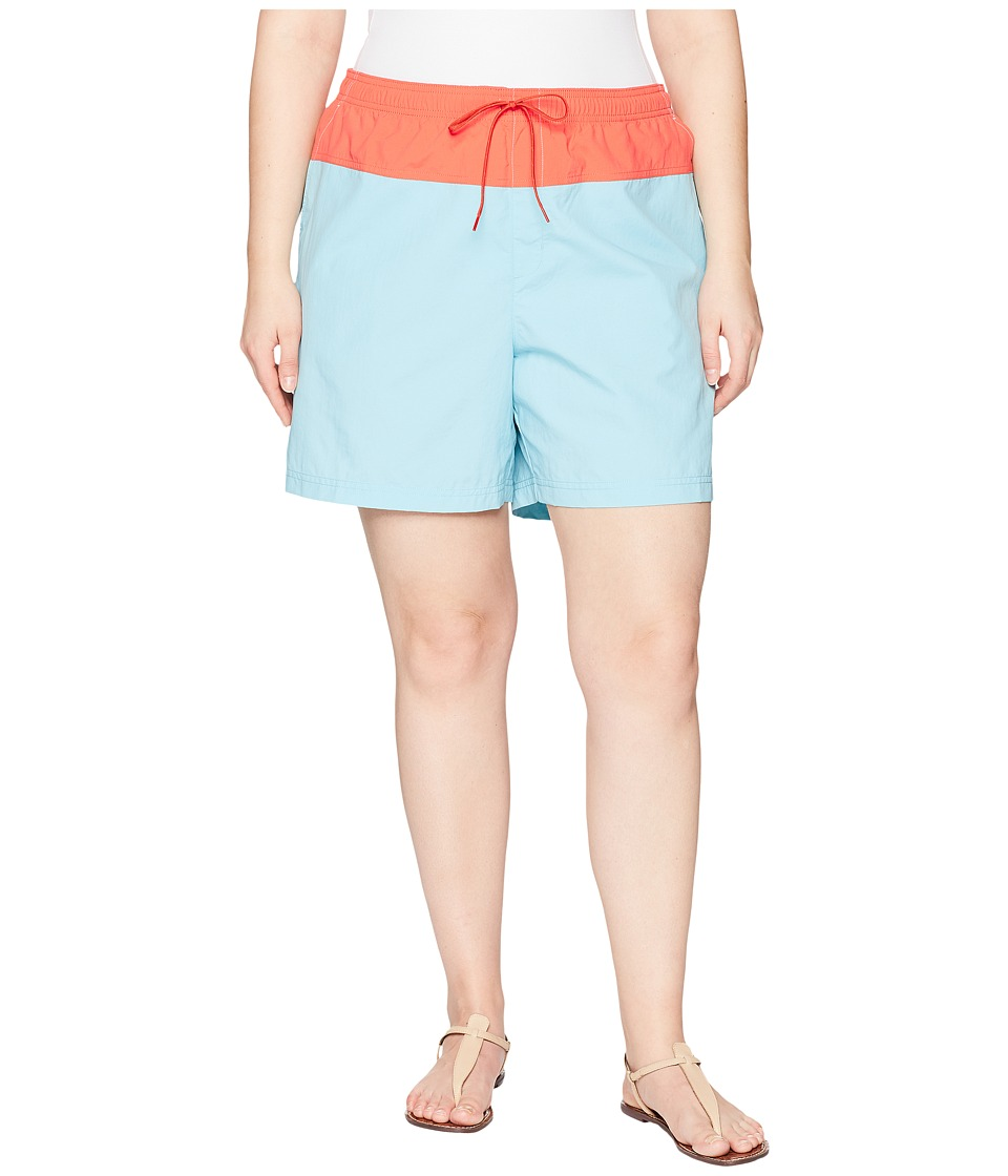 Columbia Plus Size Sandy Rivertm Color Blocked Shorts (Iceberg/Zing) Women