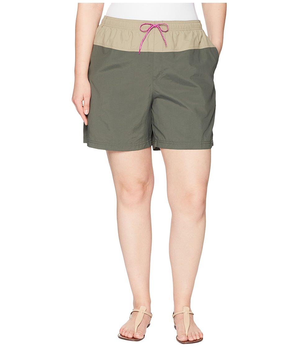 Columbia Plus Size Sandy Rivertm Color Blocked Shorts (Gravel/Tusk/Bright Lavender) Women