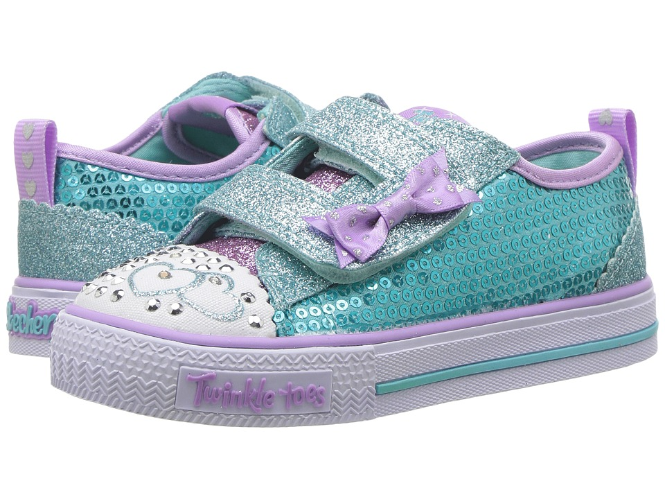 SKECHERS KIDS - Twinkle Toes - Shuffles Itsy Bitsy 10764N Lights (Toddler/Little Kid) (Turquoise/Lavender) Girl's Shoes