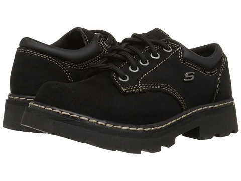 SKECHERS - Parties - Mate (Black Scuff Resistant Leather) Women's Lace up casual Shoes