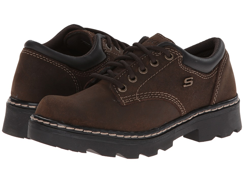 SKECHERS - Parties - Mate (Chocolate Scuff Resistant Leather) Women's Lace up casual Shoes