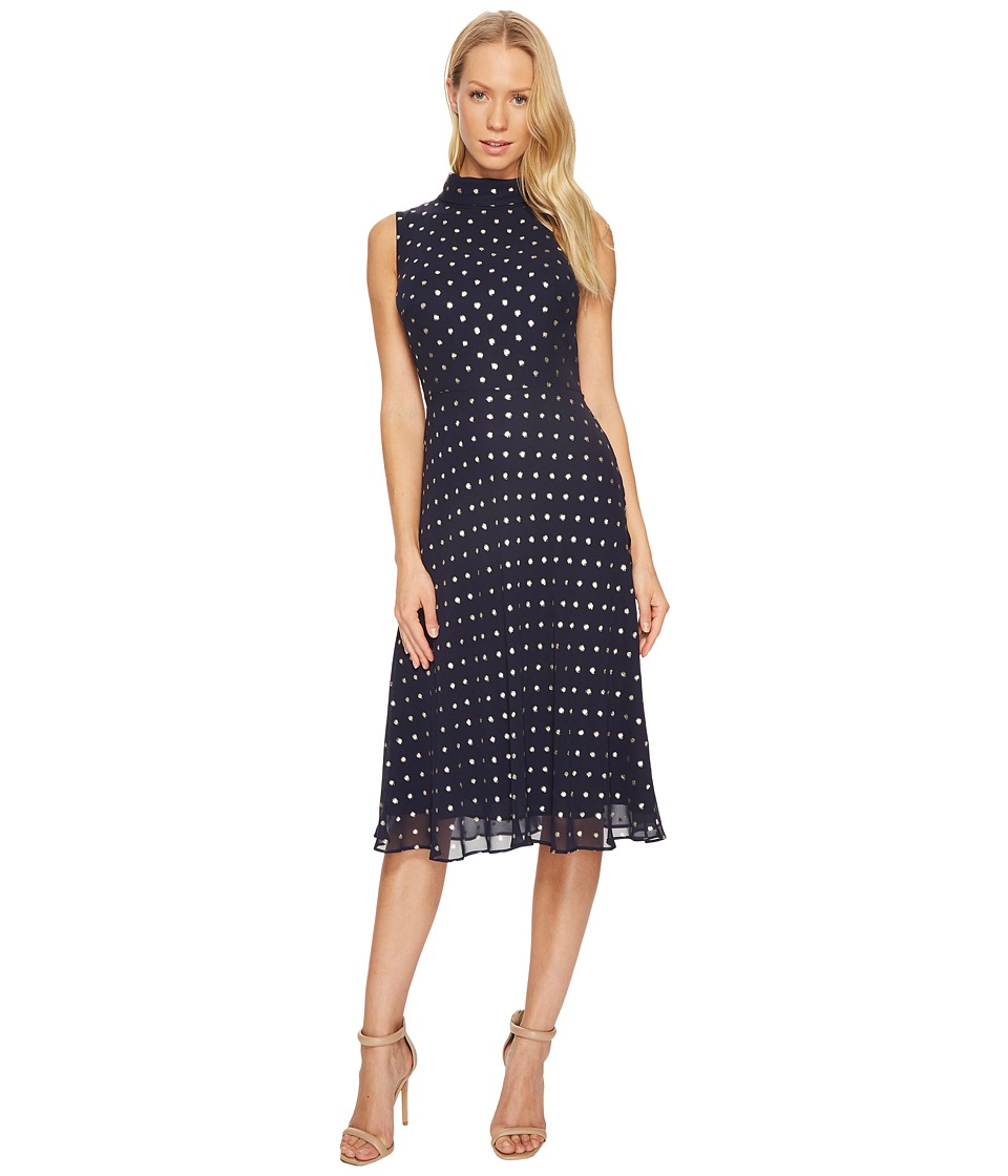 Taylor - Mock Neck Polka Dot Midi (Navy/Gold) Women's Dress
