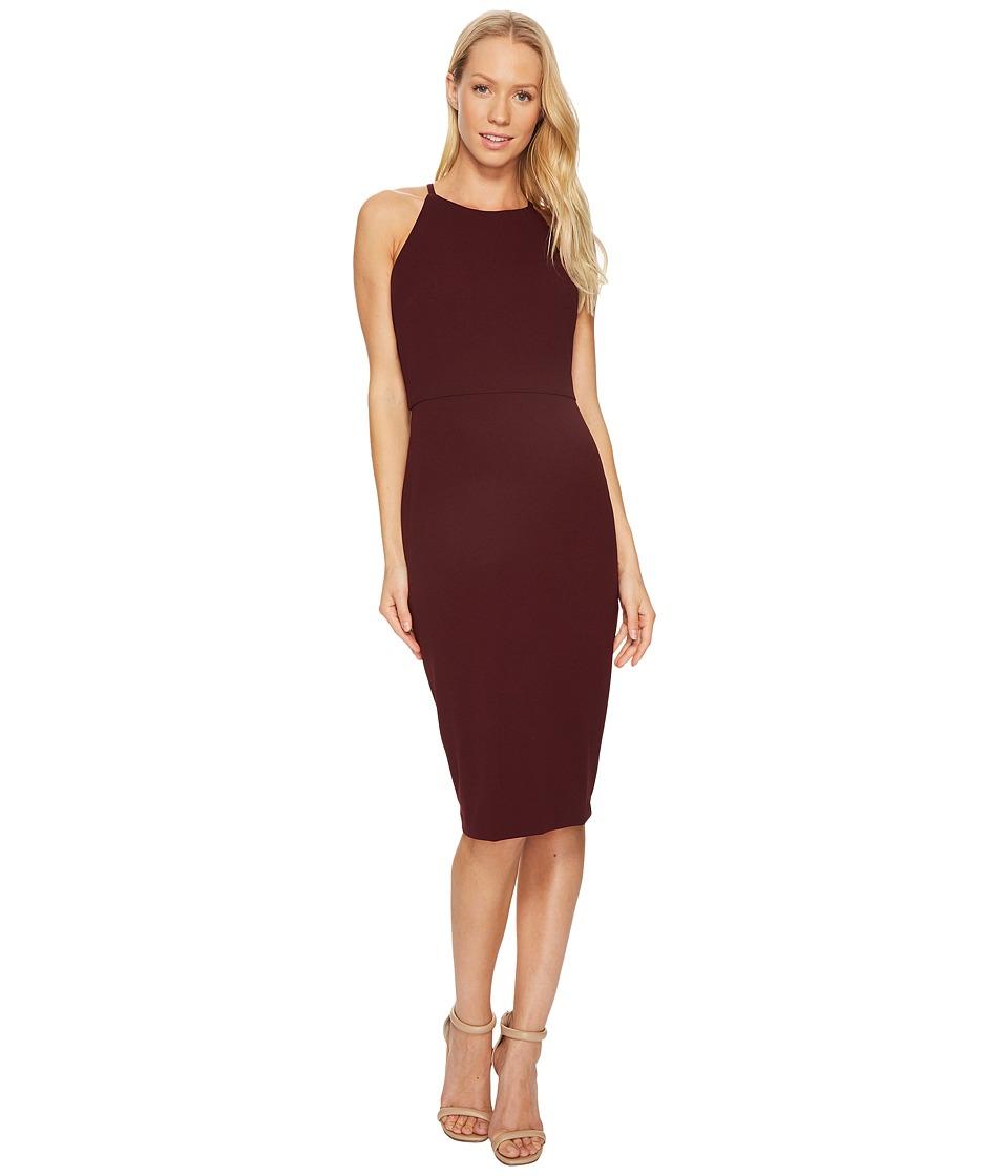 Taylor - Halter Lace Back Sheath (Merlot) Women's Dress