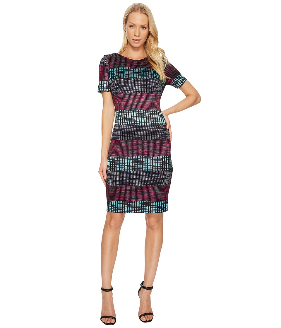 Taylor Striped Knit Sheath Dress (Raspberry/Navy Aqua) Women