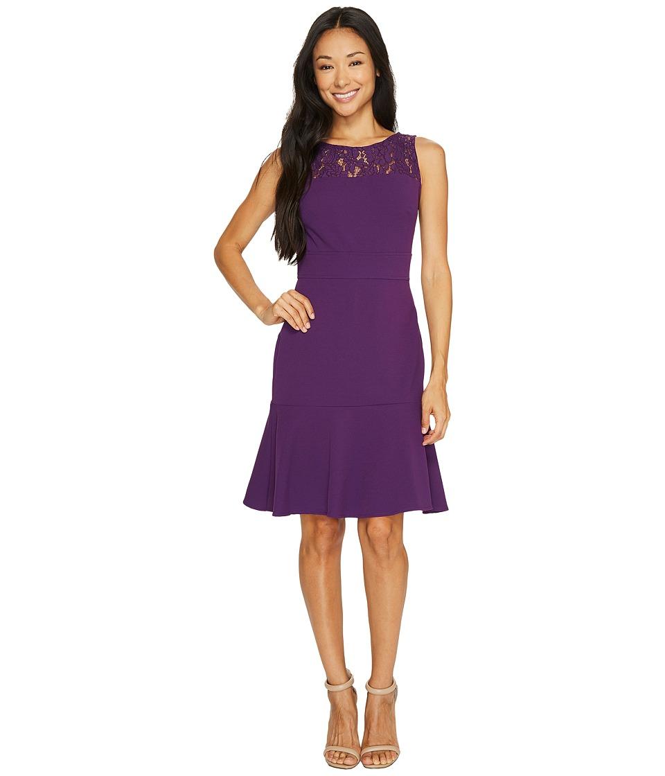 Taylor - Lace Yoke Crepe Dress (Luscious Plum) Women's Dress