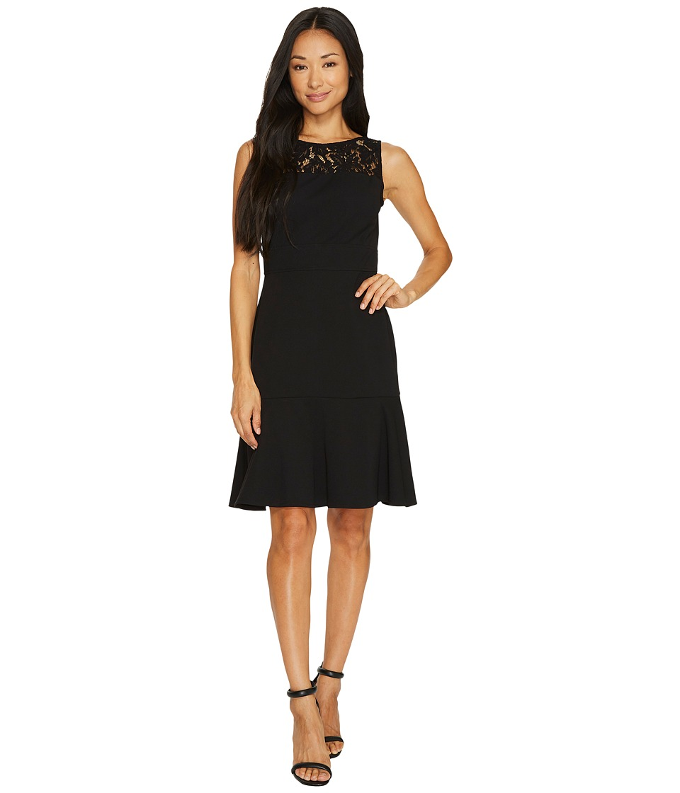 Taylor - Lace Yoke Crepe Dress (Black) Women's Dress