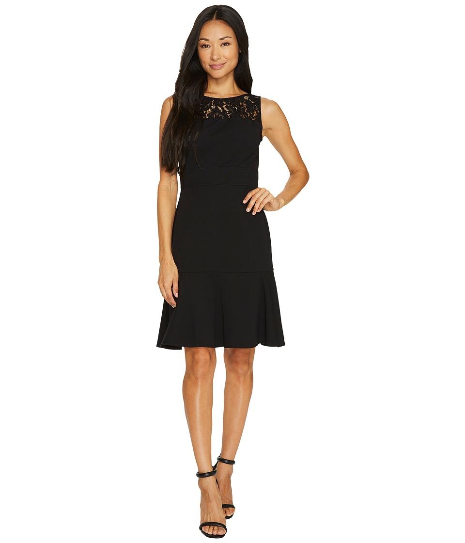 Taylor - Lace Yoke Crepe Dress (Black) Women's Dress