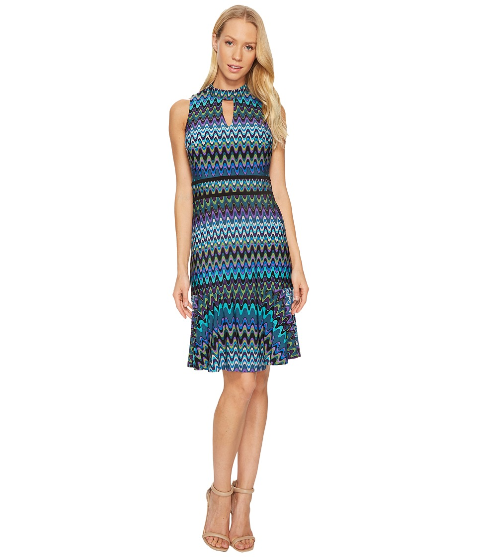 Taylor Chevron Halter Jersey Dress (Peacock) Women