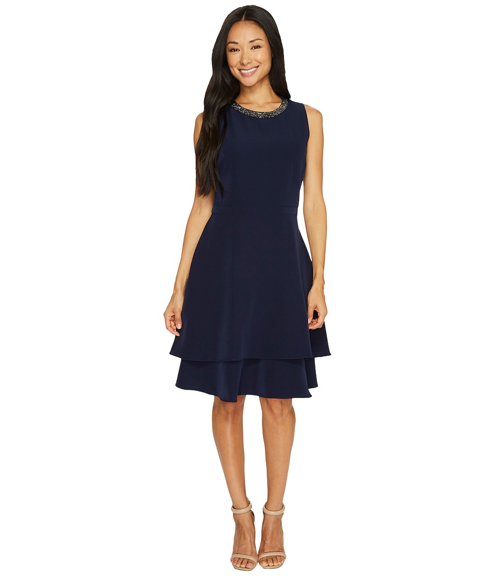 Taylor - Tiered Crepe Fit and Flare w/ Embellished Neck (Navy) Women's Dress