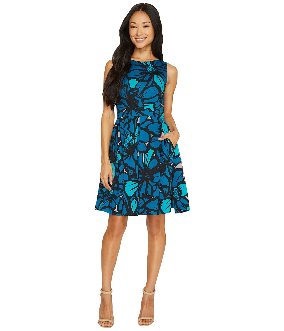 Taylor - Flower Printed Scuba Fit-and-Flare (Peacock) Women's Dress