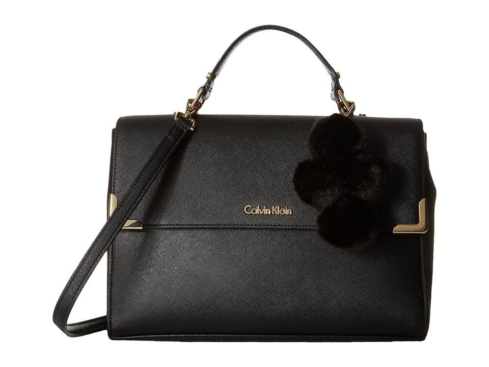 Calvin Klein - Saffiano Satchel (Black/Gold) Satchel Handbags