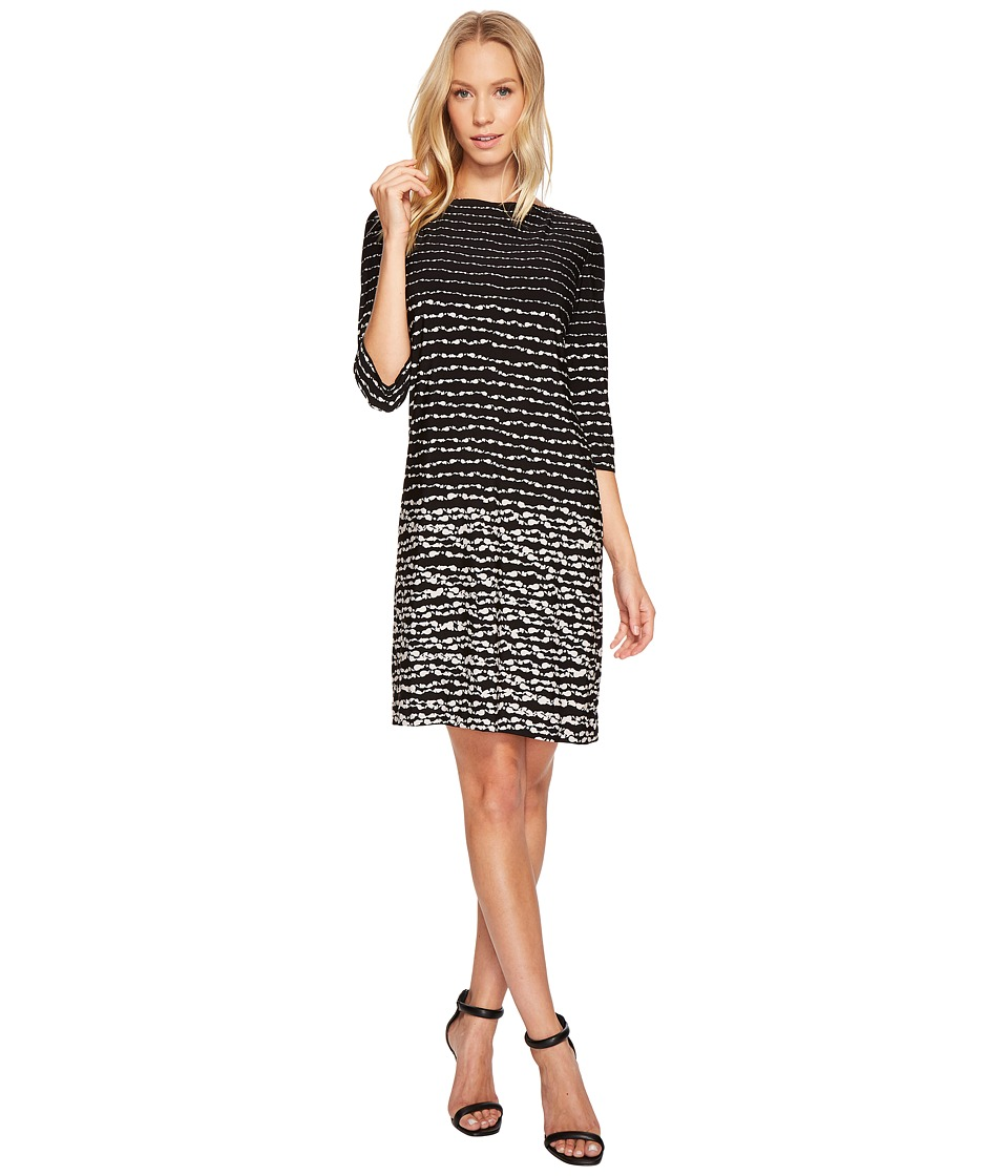 Taylor 3/4 Sleeve Striped Jersey Dress (Black/Ivory) Women