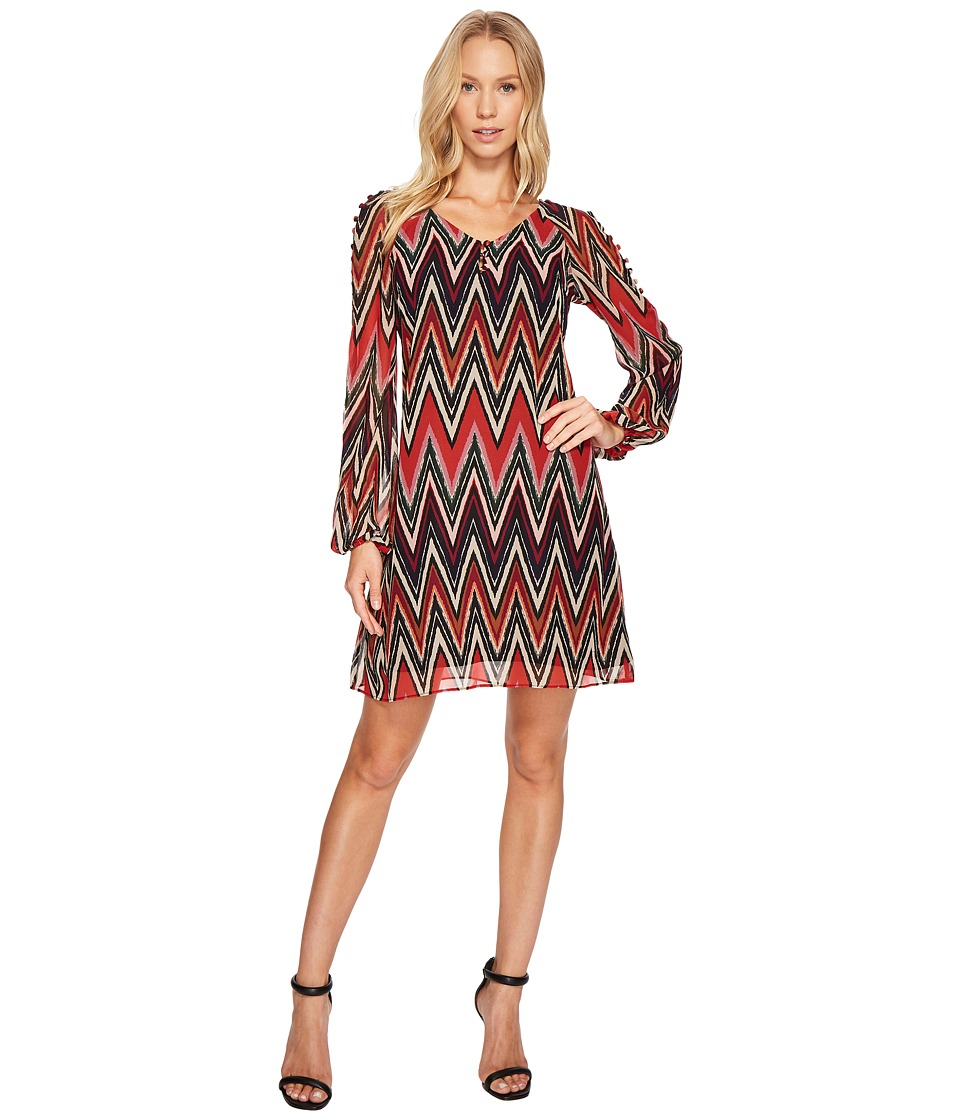 Taylor - Chevron Shift w/ Buttons (Red/Black) Women's Dress