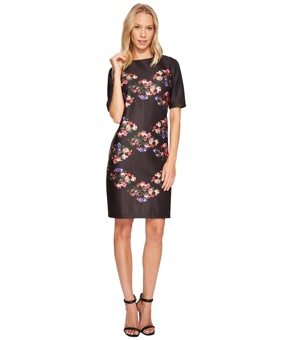 Taylor 3/4 Sleeve Placed Floral Print Shift (Black/Rose) Women