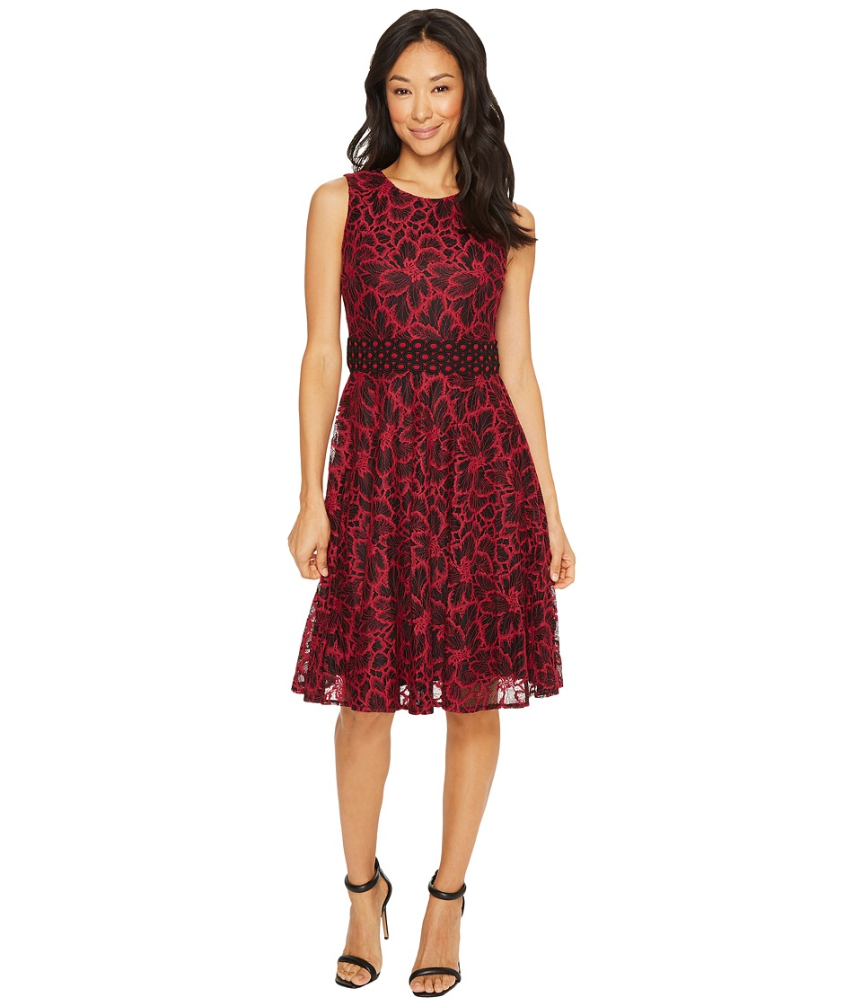 Taylor - Chemical Lace Fit and Flare (Magenta/Black) Women's Dress