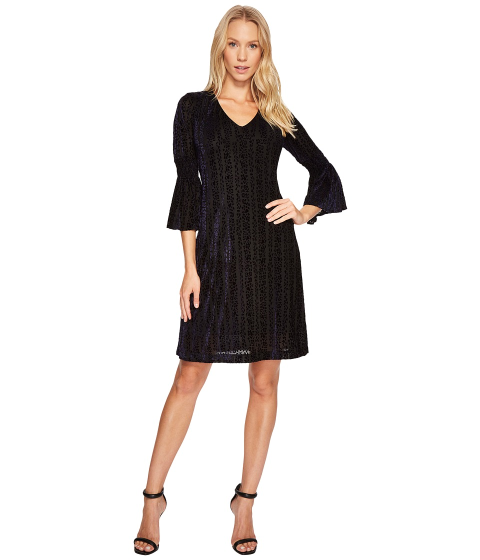 Taylor - Bell Sleeve Velvet Burnout Shift (Black/Navy) Women's Dress
