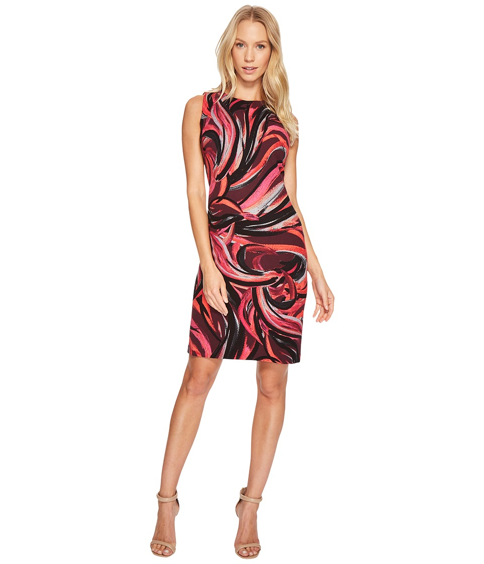 Taylor - All Over Swirl Print Sheath (Eggplant) Women's Dress