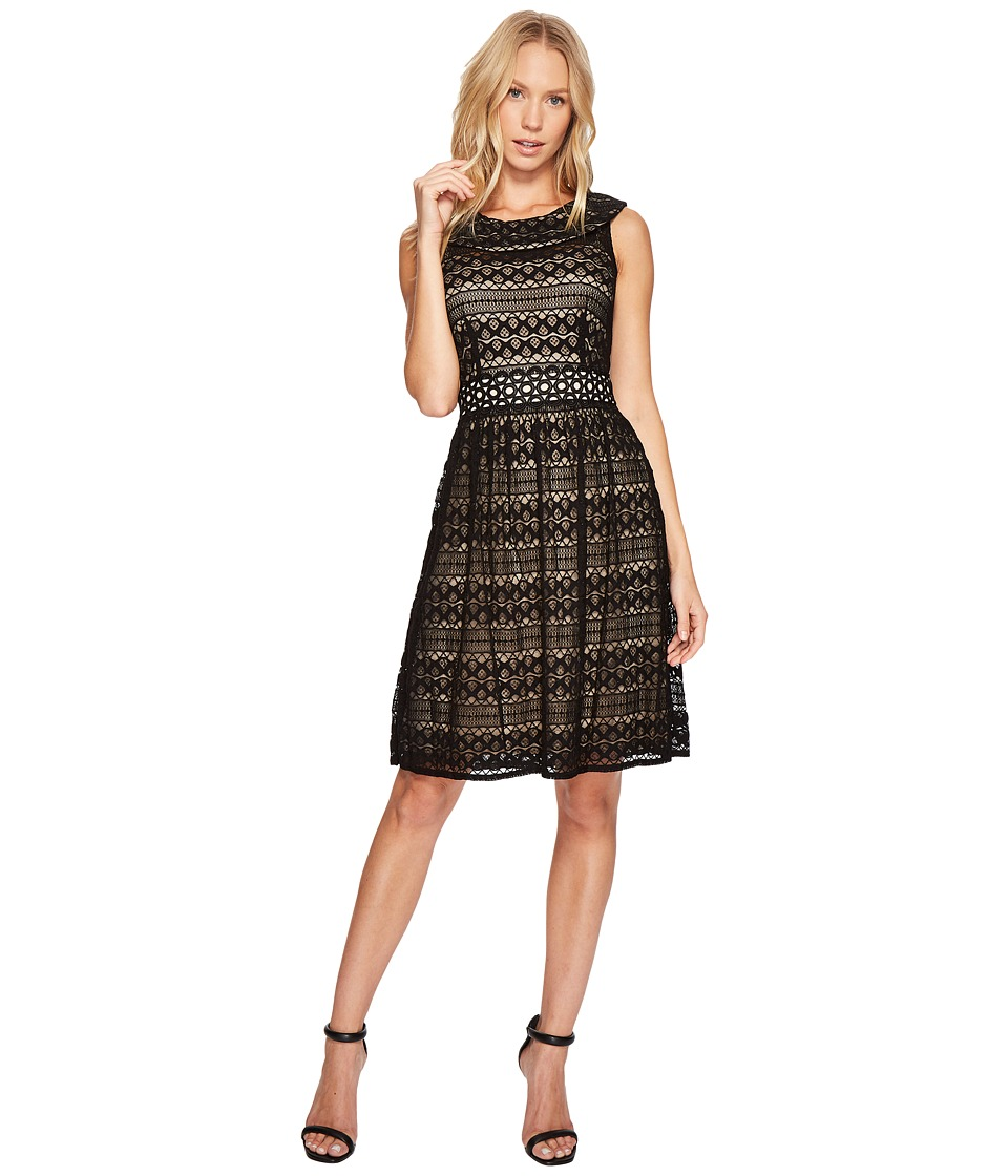 Taylor Roll Collar Lace Fit and Flare Black-Nude Dress