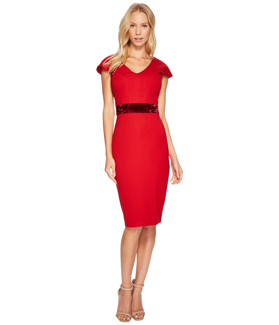 Taylor Ponte Sheath w/ Velvet Waist Band (Scarlet) Women