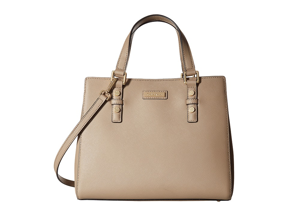 Calvin Klein - Key Item Saffiano Satchel (Mushroom) Satchel Handbags