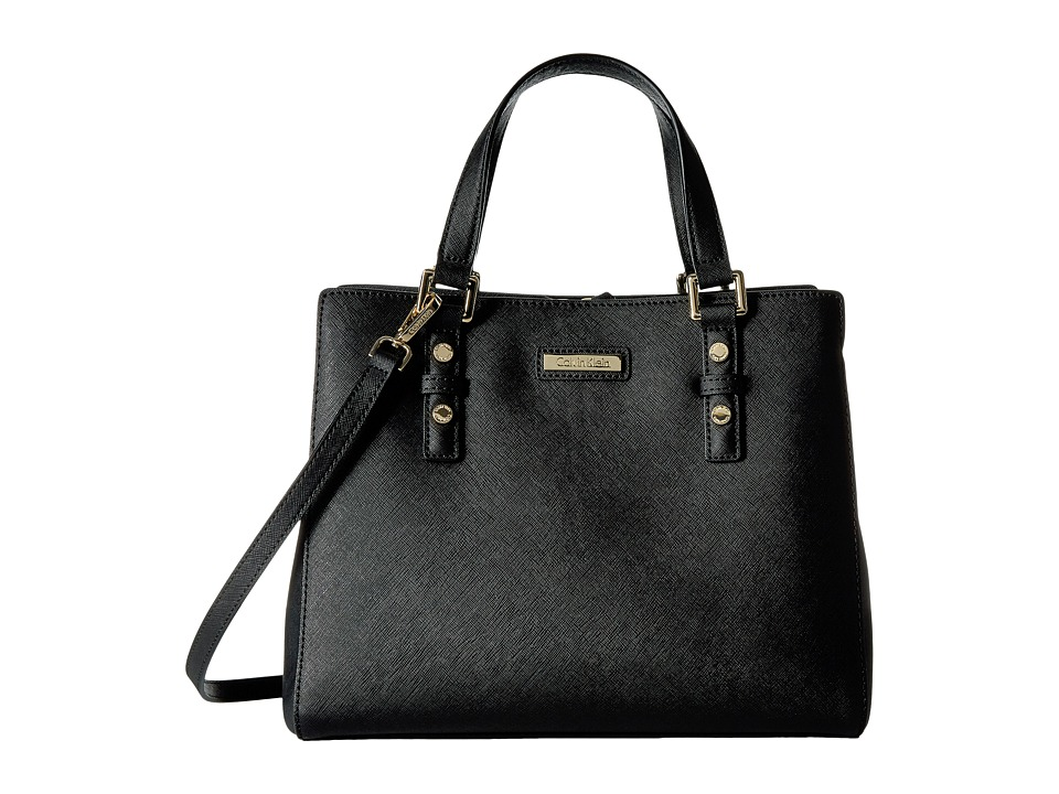 Calvin Klein - Key Item Saffiano Satchel (Black/Gold) Satchel Handbags