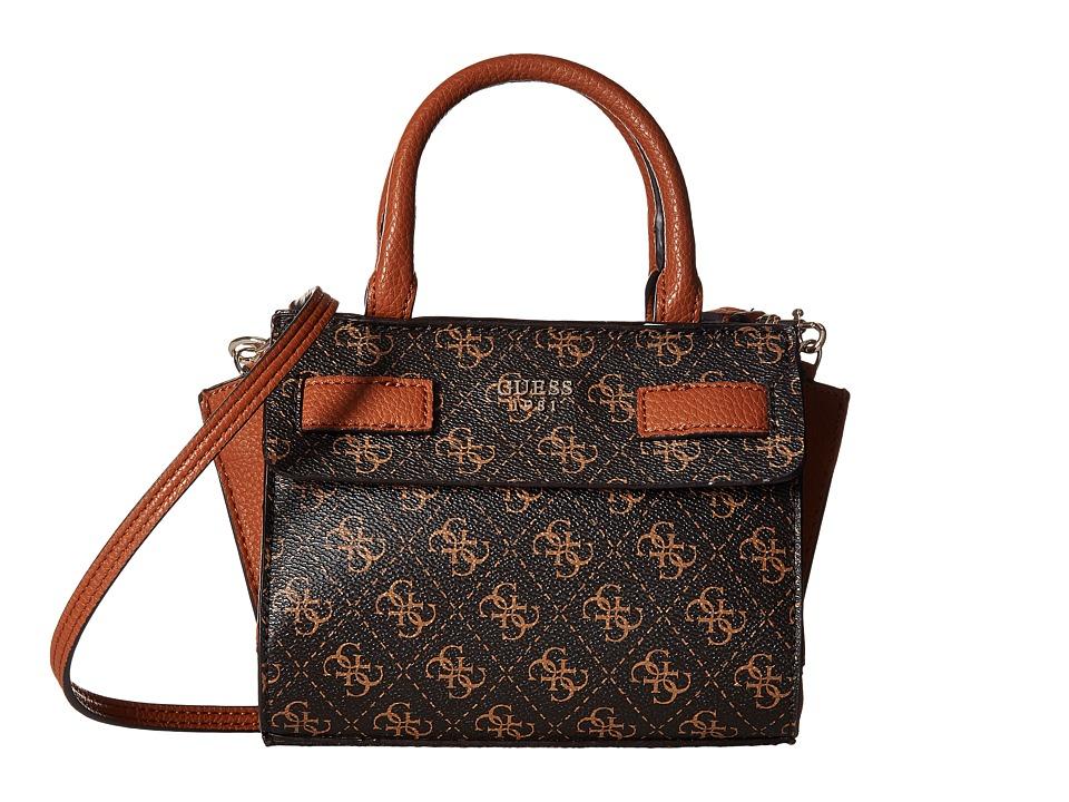 GUESS - Cate Petite Satchel (Brown) Satchel Handbags