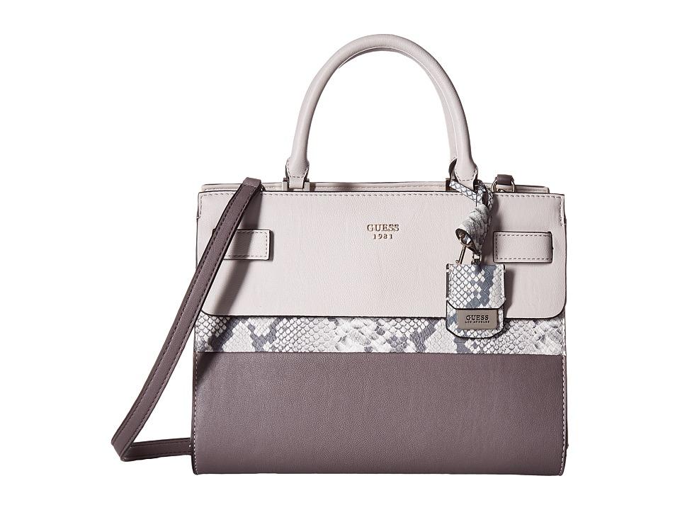 GUESS - Cate Satchel (Taupe Multi) Satchel Handbags