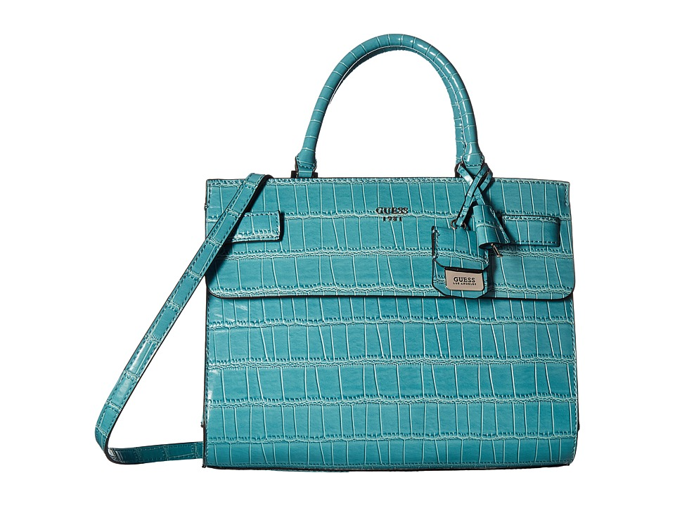 GUESS - Cate Satchel (Petrol) Satchel Handbags