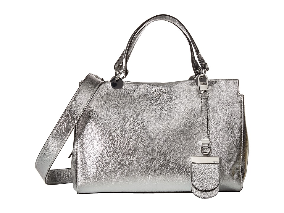 GUESS - Andie Girlfriend Satchel (Silver) Satchel Handbags