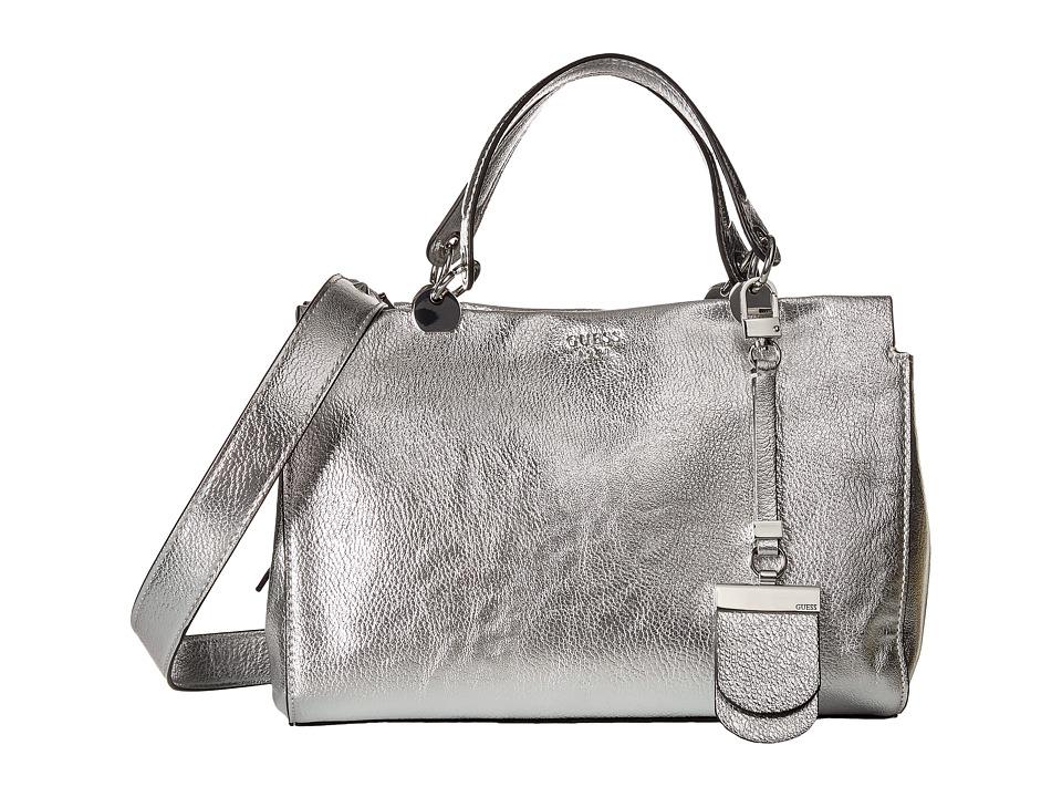 GUESS - Andie Girlfriend Satchel (Silver) Satchel Handbags