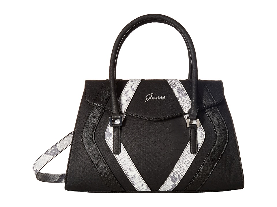 GUESS - Alton Flap Satchel (Black Multi) Satchel Handbags