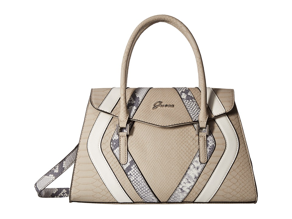 GUESS - Alton Flap Satchel (Stone Multi) Satchel Handbags
