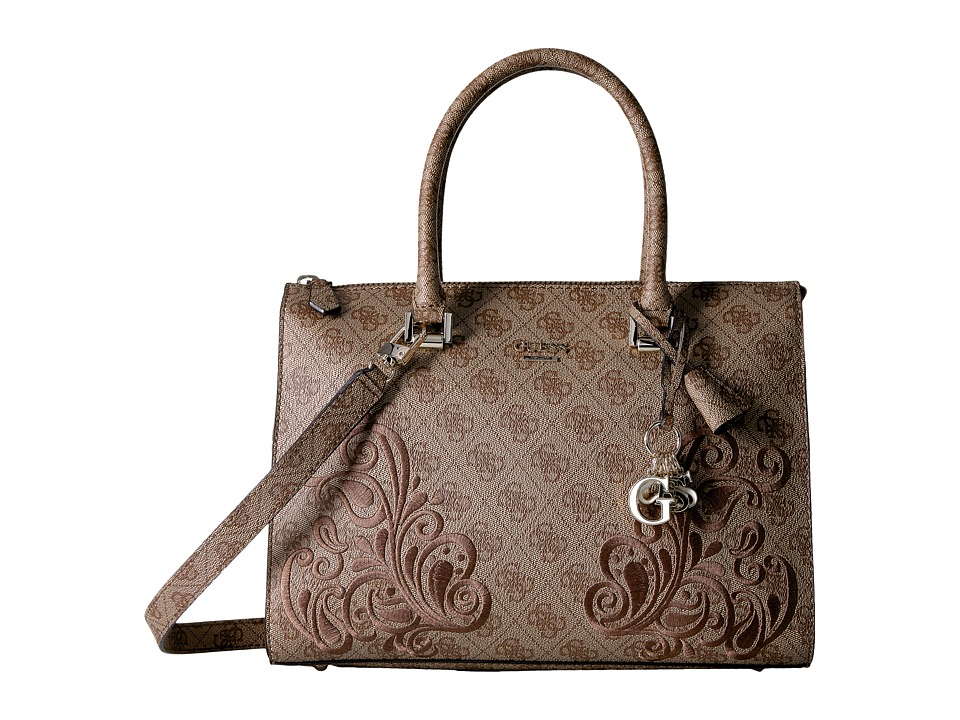 GUESS - Arianna Box Satchel (Brown) Satchel Handbags
