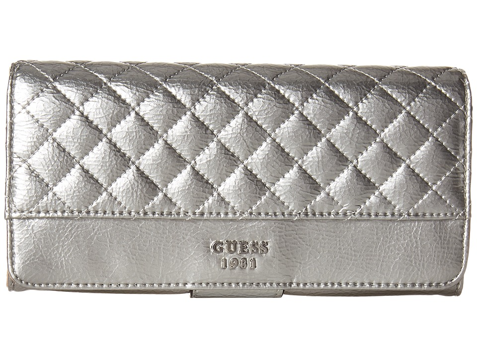 GUESS - Wilson File Clutch (Silver) Clutch Handbags