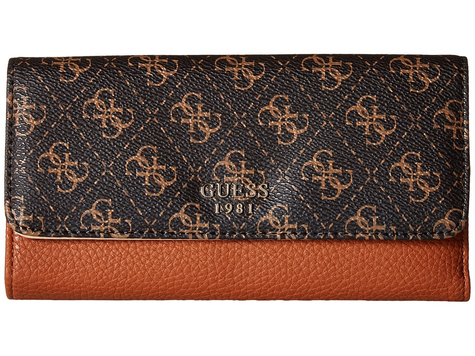 GUESS Cate Multi Clutch (Brown) Clutch Handbags