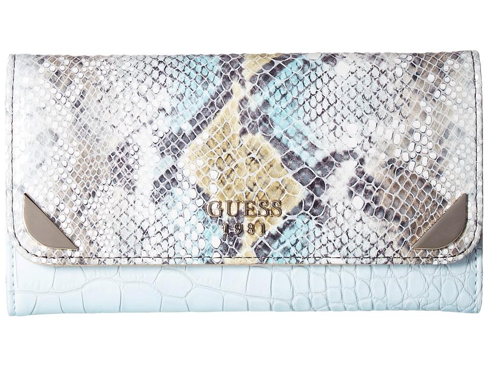 GUESS - Trylee Slim Clutch (Sky Multi) Clutch Handbags