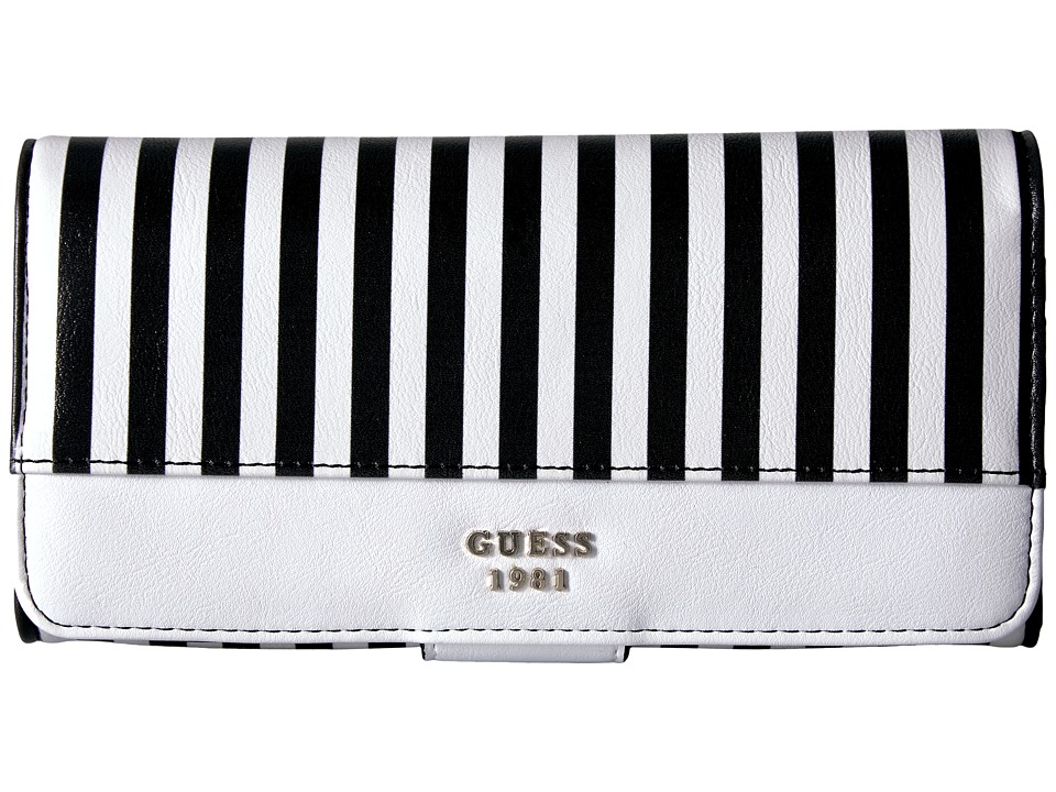 GUESS Wilson File Clutch (Black Stripe) Clutch Handbags
