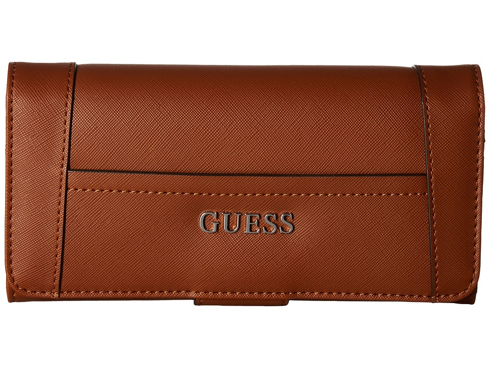 GUESS - Delaney File Clutch (Cognac) Clutch Handbags