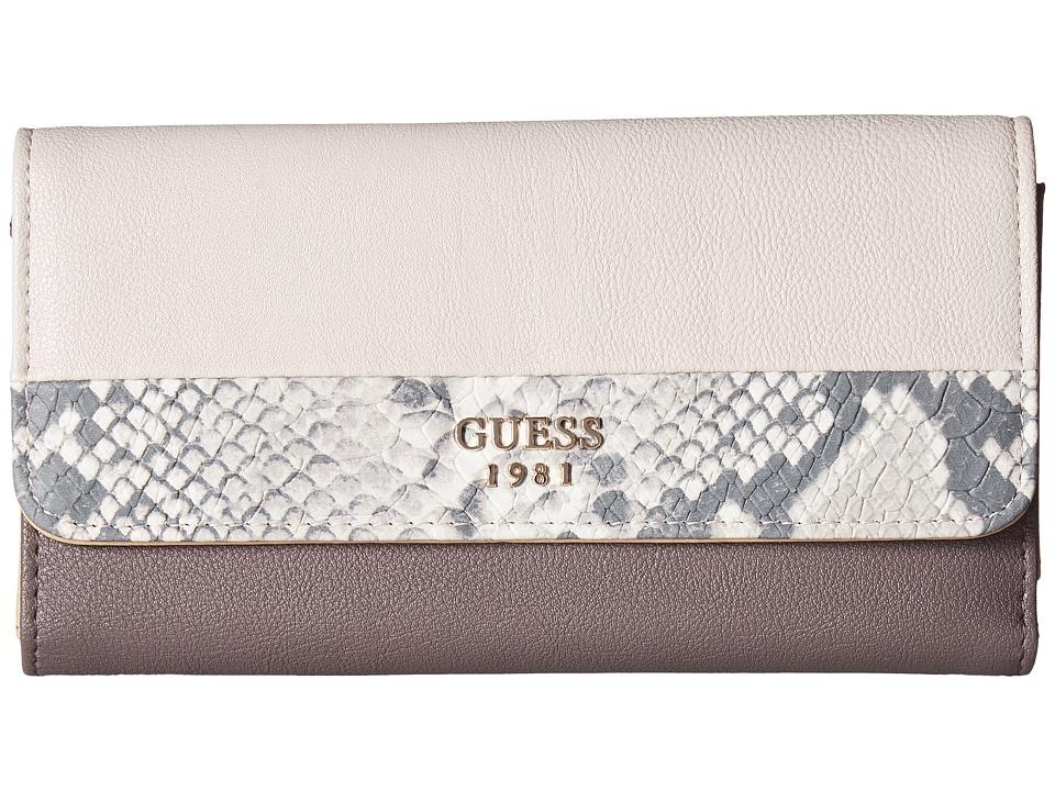 GUESS Cate Multi Clutch (Taupe Multi) Clutch Handbags