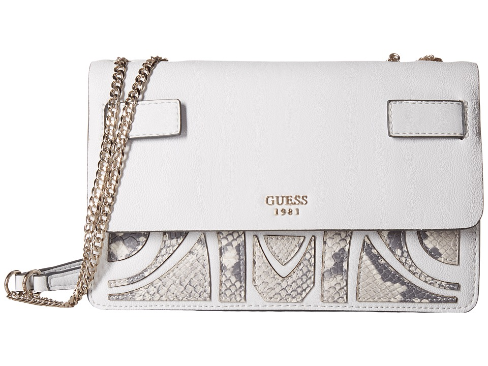 GUESS - Cate Convertible Crossbody Flap (Chalk) Cross Body Handbags