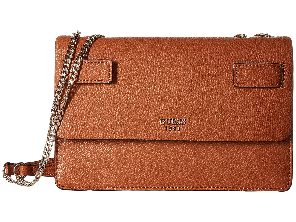 GUESS - Cate Convertible Crossbody Flap (Cognac) Cross Body Handbags