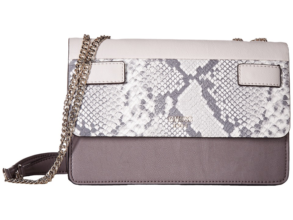 GUESS - Cate Convertible Crossbody Flap (Taupe Multi) Cross Body Handbags